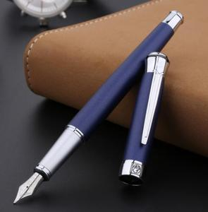 Image 1 - Free shipping wholesale school office supplies pen Picasso Luxury blue & silver 0.5mm nib fountain pen high quality writing pen