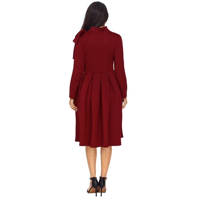 ADEWEL Autumn Long Sleeve A line Women Elegant Dress Vintage High Neck Bowknot Short Flare Party Dress Vestidos De Renda (2)