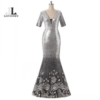 LOVONEY Evening Dress Long 2017 Sexy Deep V Neck Silver Sequin Half Sleeve Formal Evening Dress