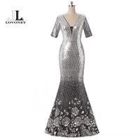 LOVONEY Evening Dress Long 2017 Sexy Deep V Neck Silver Sequin Half Sleeve Formal Evening Dress