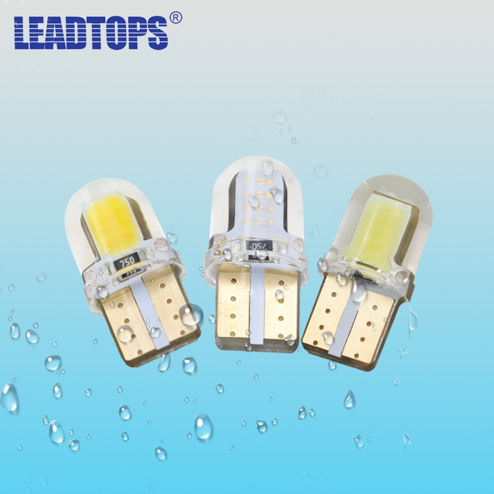 LEADTOPS Car Styling 2X Crystal T10 cob LED CANBUS W5W 168 194 12V Led Interior Lighting Bulb License Plate Clearance Lights BJ carprie super drop ship new 2 x canbus error free white t10 5 smd 5050 w5w 194 16 interior led bulbs mar713