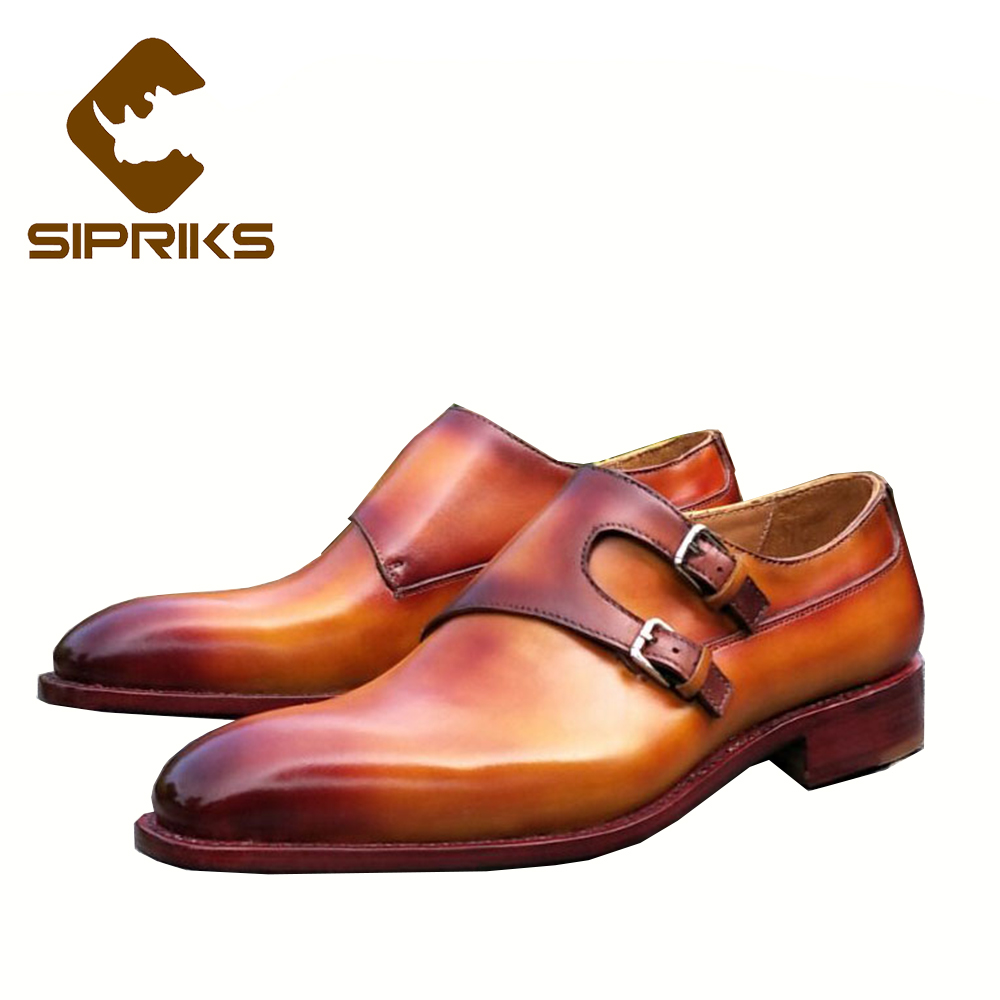 SIPRIKS Luxury mens goodyear welted shoes unique red brown double monk strap shoes male yellow tan leather buckle dress shoes полироль пластика goodyear атлантическая свежесть матовый аэрозоль 400 мл