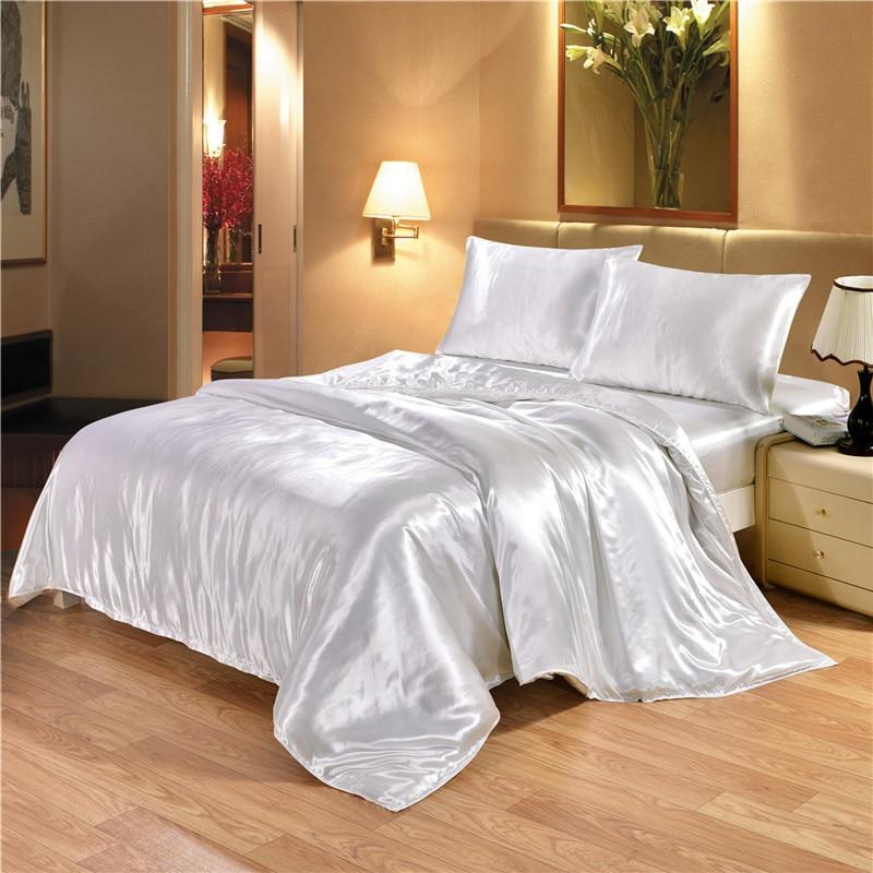 2 3pcs Duvet Cover Sets White And Black Color Satin Silk