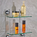 Chrome & Crystal Bathroom Double Glass Shelf Wall Mounted Brass Two Tiers Storage Holder Cosmetic Shelf