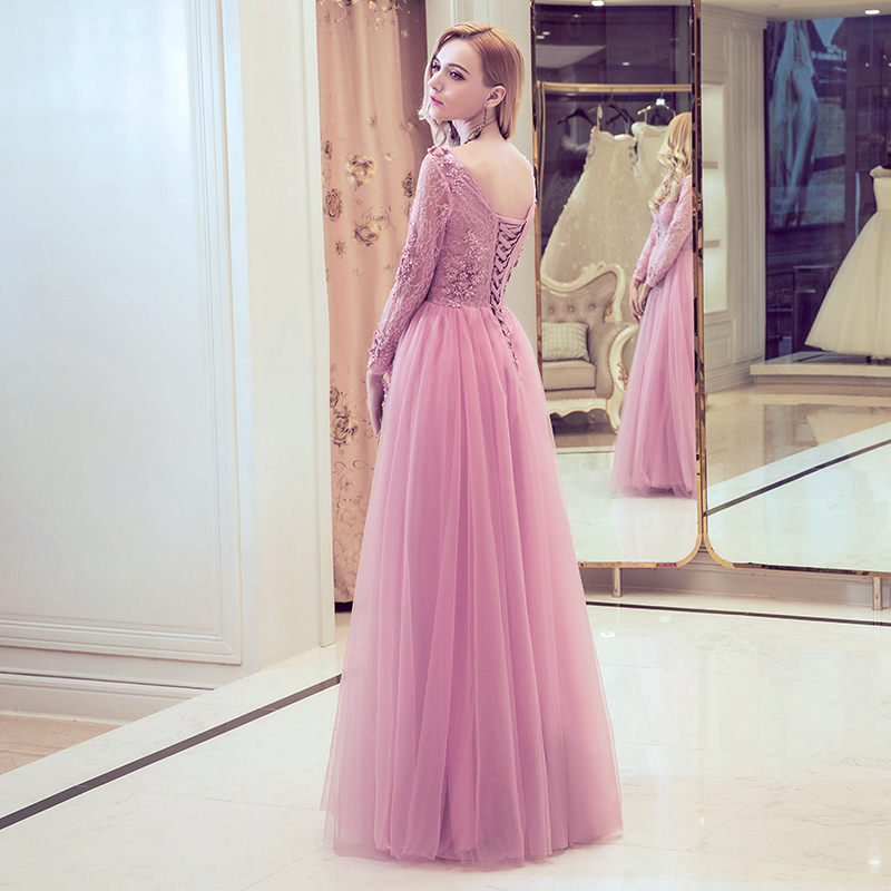 Clearance SSYFashion Evening Dress Sweet Pink Lace Embroidery V neck ...
