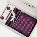 2014 gravatas e lenço + abotoaduras + gravata clipe & caixa de presente 5 sets jacquard roxo Silverdot gravatas gravatás masculinas