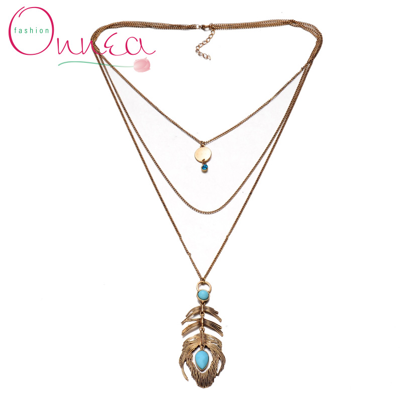 Onnea New Arrival Gorgeous Peacock Feather Long Layered Necklace Lady Dress Sweater Necklace Pendants for Women Christmas Gifts