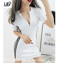 L&Y Fashion Hit Color Side Striped Cotton Dress Summer Long Tshirt Zipper V Neck Half Sleeves Slim Fit Casual Women