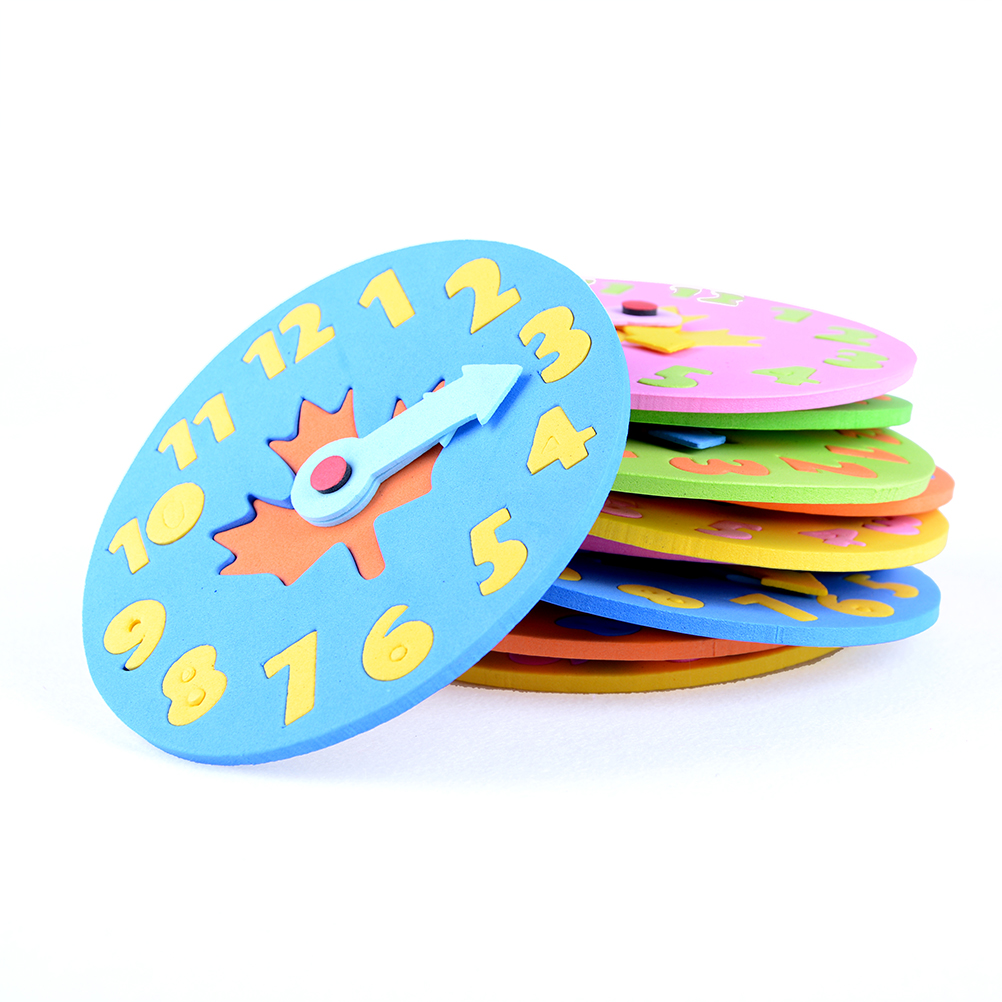 1Pc DIY Eva Clock Learning Education Toys Fun Math Game For Children Baby Toy Gifts 3-6 Years Old Kids Clock Toy