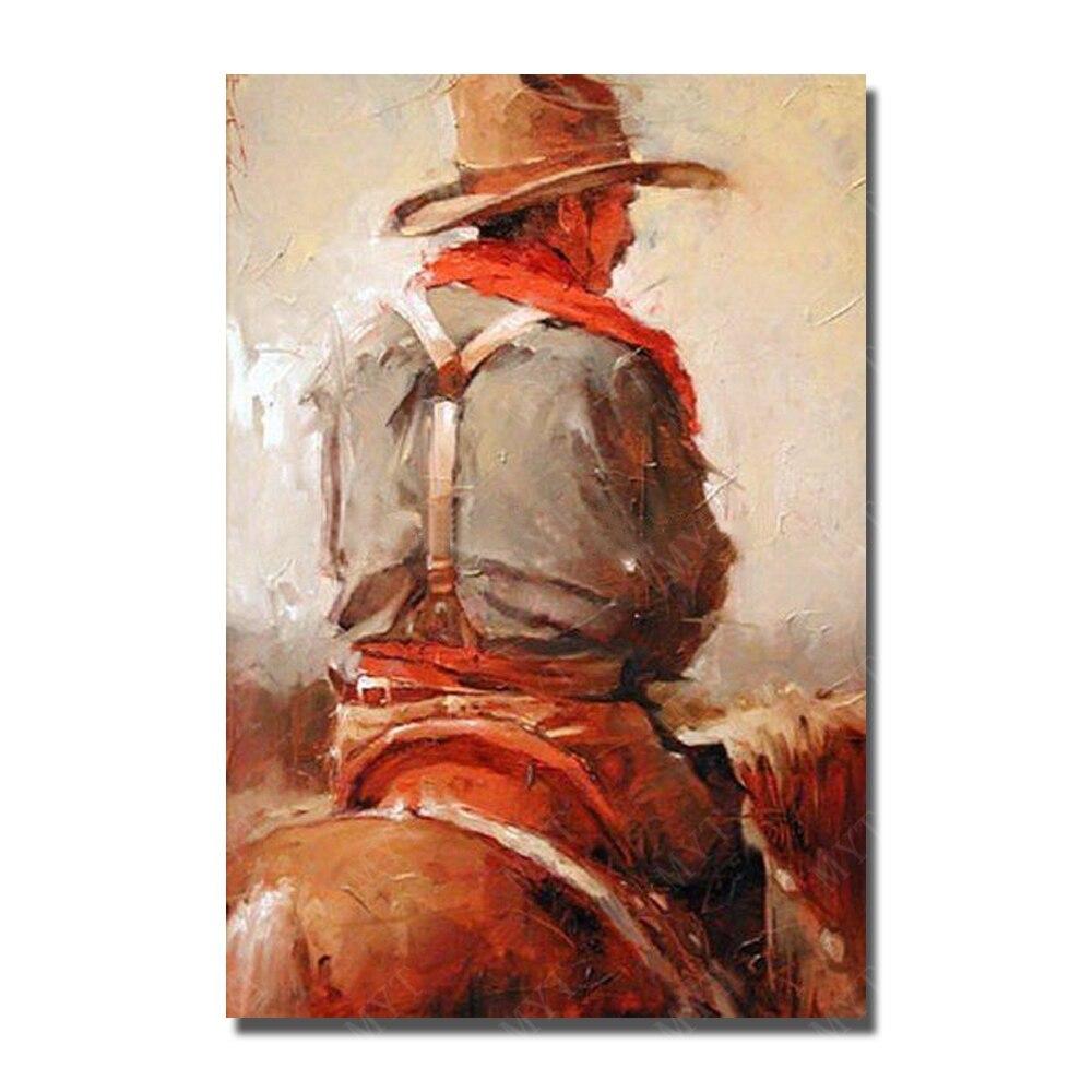 Abstrait peinture à l'huile sur toile africain art dessin à la main vieux homme d'équitation chevaux ouest vache garçon courageux équitation cheval mur image