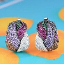 GODKI 25mm Luxury Twist Braided Cross Lines Colorful Full Mirco Pink Cubic Zircon Dangle Earring For Women Wedding Bohemia Hot
