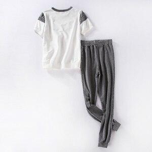 Image 4 - ToLugui Summer Womens Set Short Sleeve Sports Suit Patchwork O Neck t Shirt+Pant 2 Piece Set Tracksuit For Women Sweat Suit