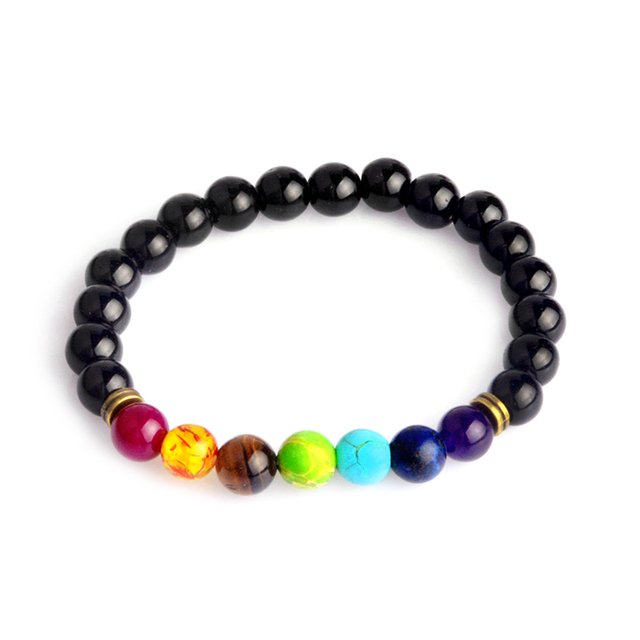 Multicolor Tiger Eye Stone Black Resin Lava Beads Chakra Bracelets Wristband Bangles bijoux Rope Chain Women Men Jewelry 2