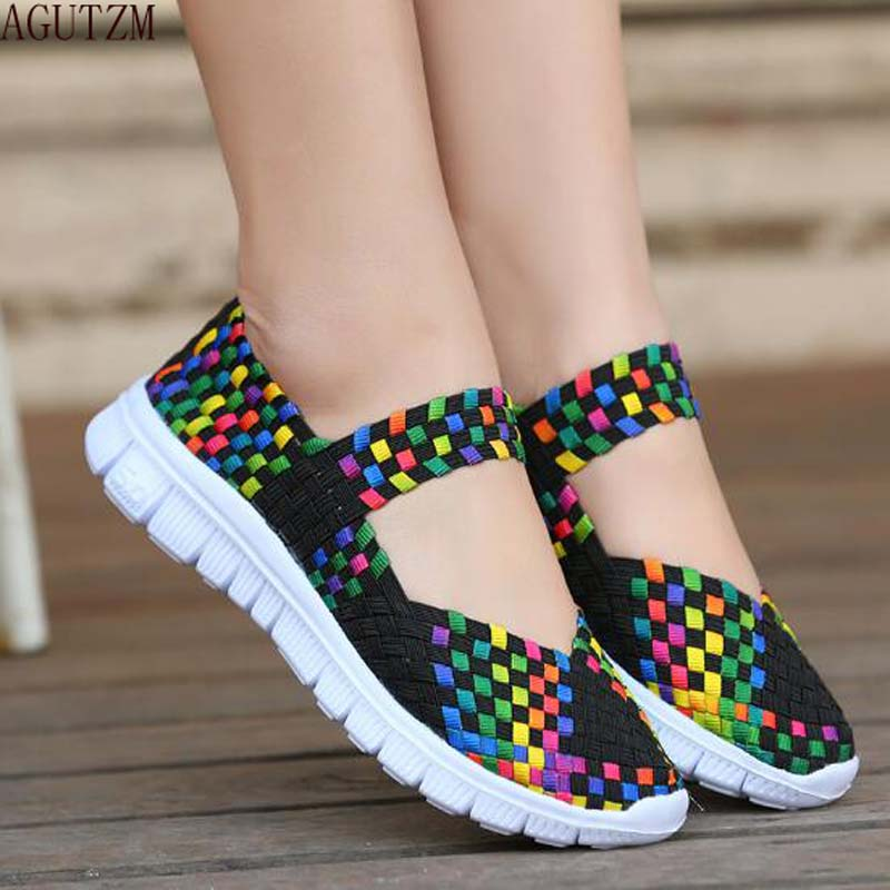 AGUTZM Women Woven Shoes 2018 Summer Breathable Handmade Shoes Fashion Comfortable Women Flats Casual Shoes Sandals V15 women s shoes 2017 summer new fashion footwear women s air network flat shoes breathable comfortable casual shoes jdt103