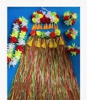 60cm Hawaiian Hula Grass Skirt Flower Multi color Party Dress Beach Dance 1set/lot Free Shipping