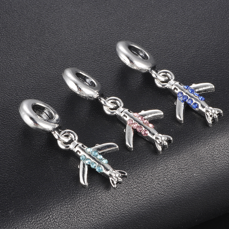 HOMOD Silver plated 6 colors Aircraft pendant inlay rhinestones Charm Beads Fits PandoraFit European Original Brand Bracelet