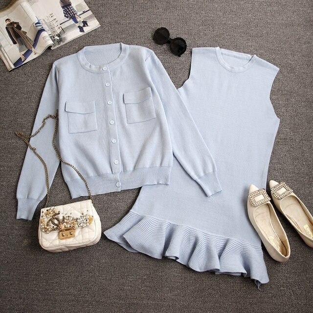 2 Unidades Set Mujeres dulce del estilo delgado sin mangas del volante corto vestido y chaqueta cardigan tejido de punto suéter trajes para dama elegante