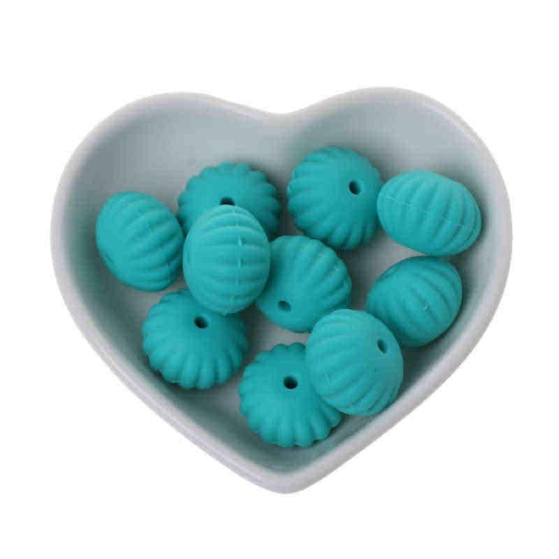 10 штук 15 мм Тыква Силиконовые бусы для прорезывания зубов детский Прорезыватель своими руками игрушечный детский душ подарок ожерелье соска цепь (без коробки)