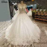Sexy See Through Ball Gowns Wedding Dresses 2018 Custom Made Real Photos Lace Beaded Corset for Women Bridal Gowns with Veils