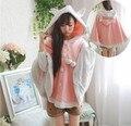3 cores -- Rosa kawaii doce orelha de coelho com capuz solto manto camisola personalizado mulheres