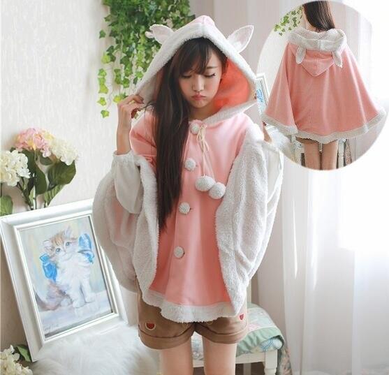 3 couleurs-Rose doux oreille de lapin à capuche lâche kawaii manteau personnalisé sweat-shirt femmes