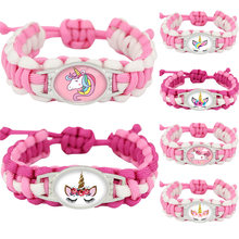 Unicorn Horse Adjustable Bracelets Flamingo Camping Hiking Outdoor Survival Rope Paracord Bracelet Women Girls Jewelry Gift(China)