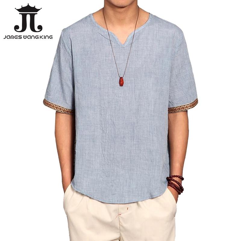 Sommar linne tröja män kinesisk kultur kortärmad tröja lösa - Herrkläder