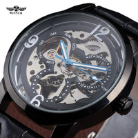 Fashion Skeleton Winner Brand Classic Design Business Leather Sport Men Mechanical Automatic Wrist Luxury Army Military