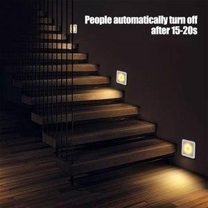 Image 5 - Nova luz noturna sensor de movimento inteligente led night lamp bateria operado wc lâmpada de cabeceira para sala corredor caminho wc da