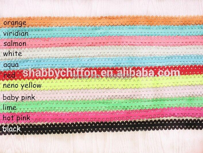34'' Frilly Elastic 200  yards  lot , Fold Over Elastic , headband lace elastic