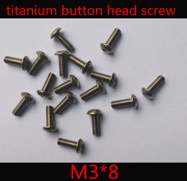 50pcs/lot  ISO 7380  M3 x 8 Titanium Button Head Hex Socket Screw 50pcs lot iso7380 m3 x 6 pure titanium button head hex socket screw