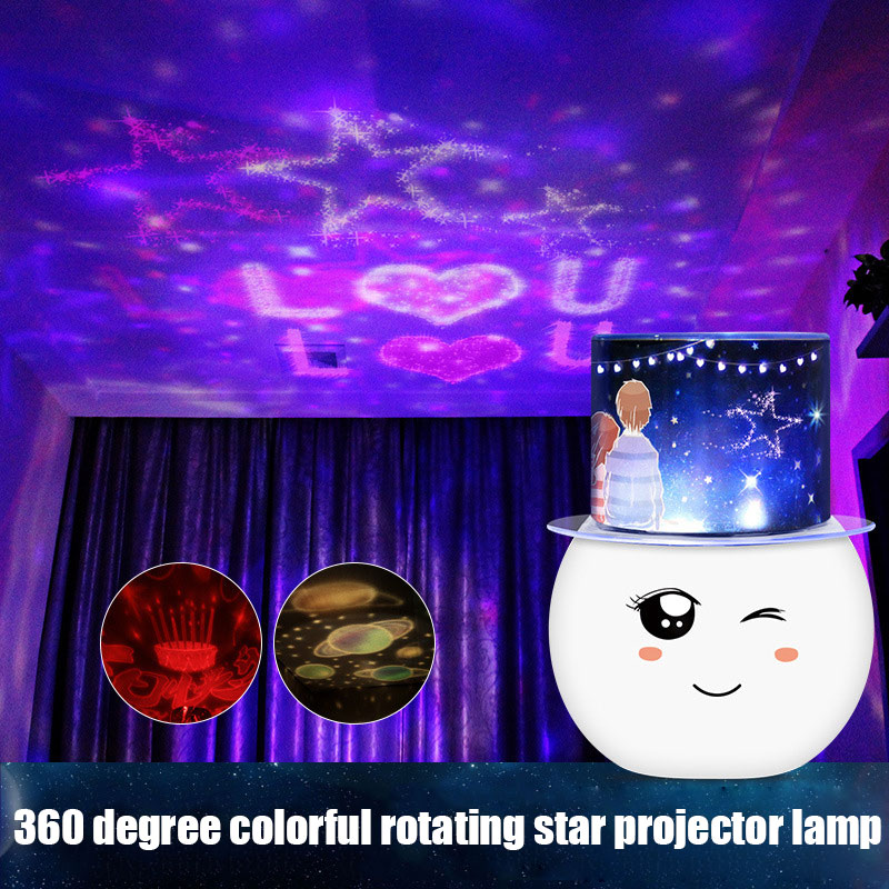 Colorful LED Projector Lamp Starry Star Moon Sky Projector Cute Night Light for Children Room JA55