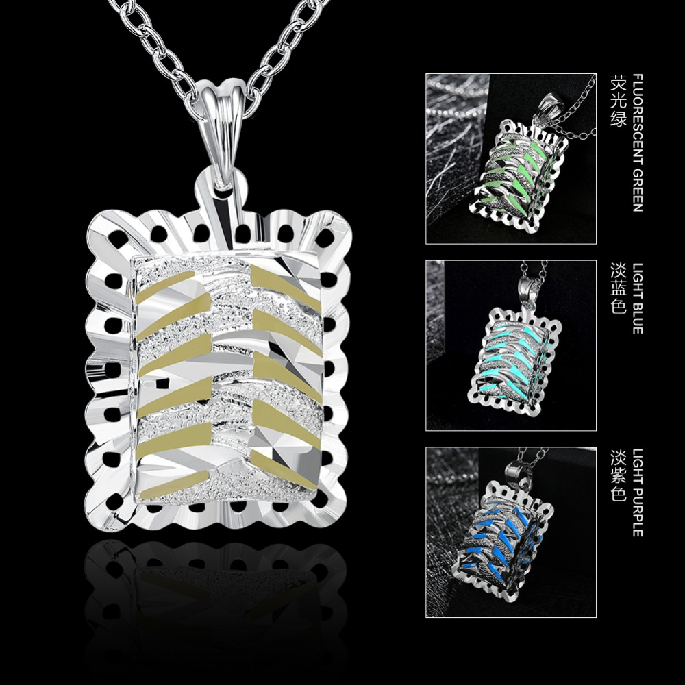Candy Color Suqare Hollow Carve Stripe Glow In Dark Luminous 925 Sterling Silver Chain Necklace El Collar Fashion Jewelry