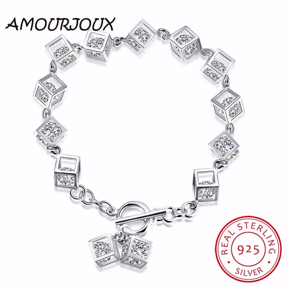Square Charm Bracelet: AMOURJOUX Elegant 925 Sterling Silver Zircon Square Charm