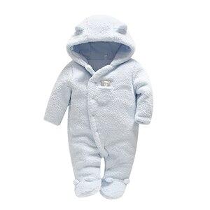 Image 2 - Мягкая одежда для новорожденных младенцев, комбинезоны с медведем для маленьких девочек и мальчиков, Плюшевый комбинезон с капюшоном, зимние комбинезоны для детей, детская одежда