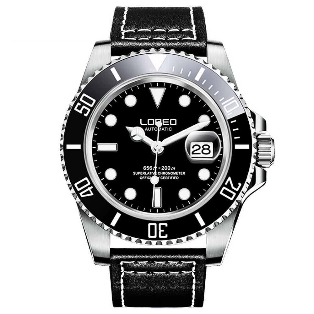 LOREO Mens Sport Luminous Rotatable Bezel 200M Waterproof Automatic Self Wind Mechanical Wrist Watches Single Calendar