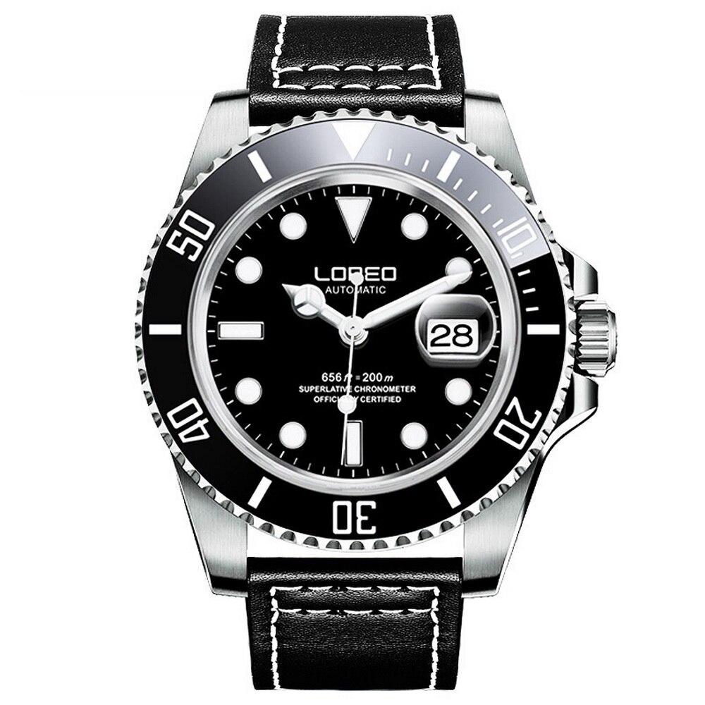 LOREO męskie sportowe Luminous obrotowa ramka 200 M wodoodporna automatyczny auto wiatr mechaniczne zegarki na rękę pojedynczy kalendarz skórzany w Zegarki mechaniczne od Zegarki na  Grupa 1