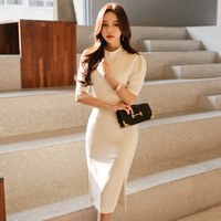 LYFZOUS Vintage Buttons Short Sleeve Dress Women Summer White Stand Collar Left And Right Slits Dresses Solid Slim Sexy Dress