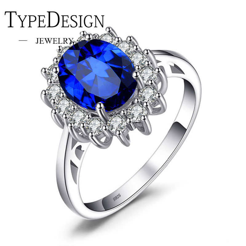 JewelryPalace 925s Anillos Silver Ring Navy Blue Created SapphireSun Flower Ring For Women Fine Jewelry Classic Princess 6-10