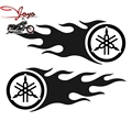 "Flame Tuning Fork Logo Decals Fuel Tank Stickers For Motorcycle YZF R6 YZF R1 FZ6 FZ1 Fazer XJR400 XJR1300 XJR1200 7.87""x 2.88"""