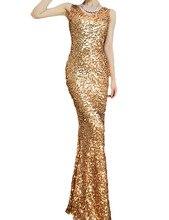 PrettyGuide Women Glitzy Glam Mermaid All over Gold Sequin Art Deco Party Dress Floor Dress