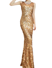 PrettyGuide Women Glitzy Glam Mermaid All over Gold Sequin Art Deco Party Dress Floor Dress