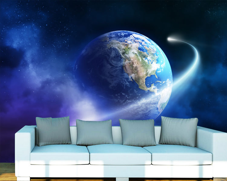 [Self-Adhesive] 3D Earth Meteor 173 Wall Paper Mural Wall Print Decal Wall Murals