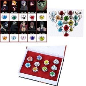 Новинка, комплект из 10 предметов, металлическое кольцо Наруто Акацуки, детский японский ниндзя косплей, игрушечные кольца