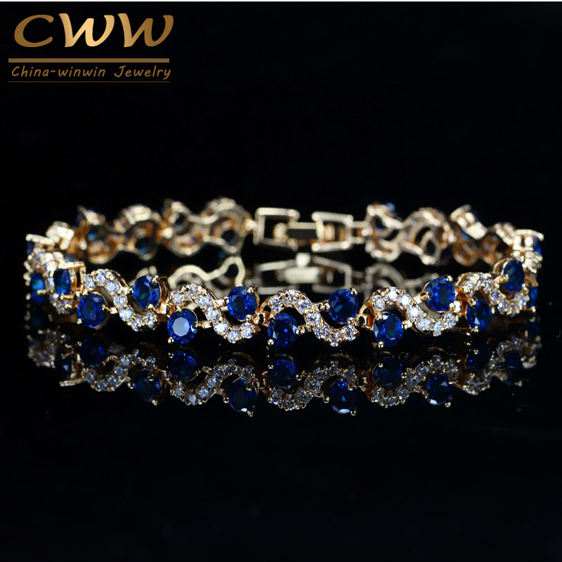 CWWZircons Design Trendy Gold Color White Cubic Zirconia Stone And Dark Blue Crystal Bracelet For Women Jewelry Gift CB193 starfield fashionable new bracelet inlaid cubic zirconia stone bracelet leaf design women s accessories