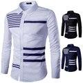 2016 Nova Mens Casual Pin Stripe Remendado Bolso Camisas Ocasionais Magros Longo Slevee Camisa camisa masculina dos homens M-2XL