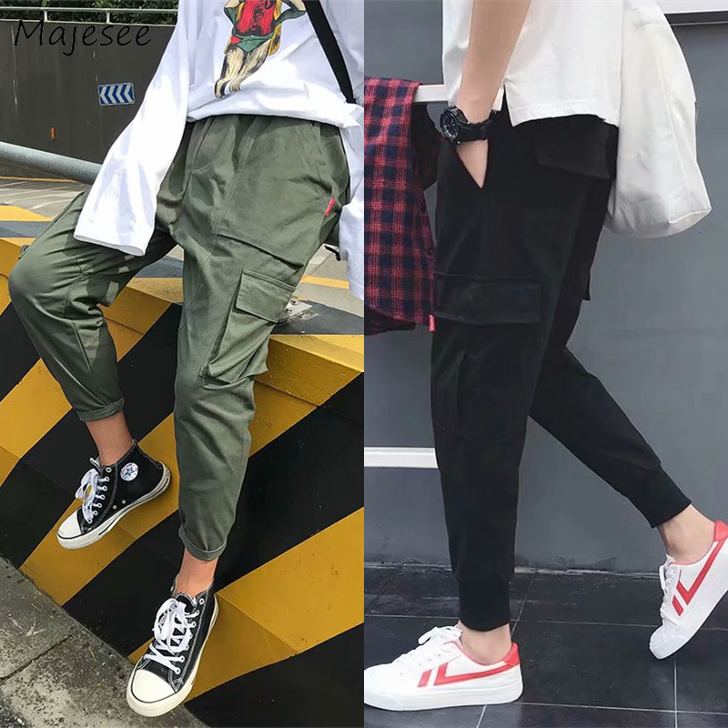 Pants Men Large Size Pockets Leisure Striped Letter Printed Harajuku Streetwear Cargo Pant Mens Korean Ulzzang Hiphop Trousers