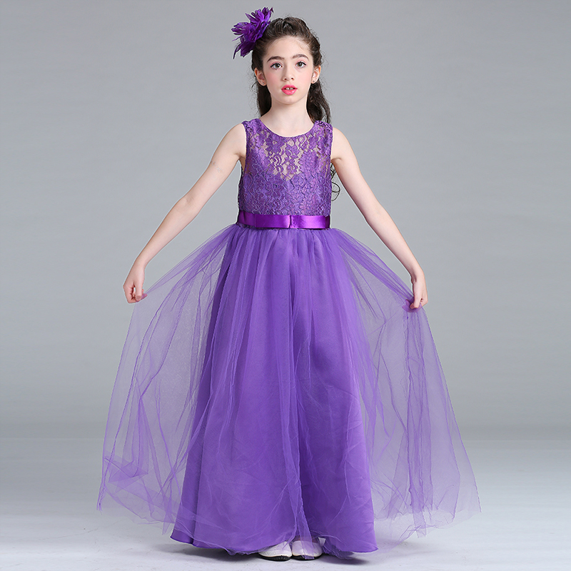 2017 Kids Girls Wedding Lace Girl Dresses Princess Party Pageant Formal Dress Sleeveless Long Dresses for Girl 5-15 Years Wear long criss cross open back formal party dress