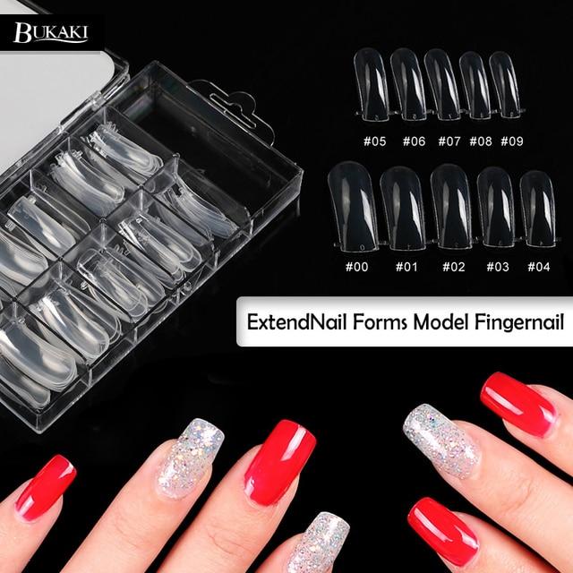 BUKAKI 100pcs False Nail Natural French Acrylic UV Gel Fake Nail Art ...