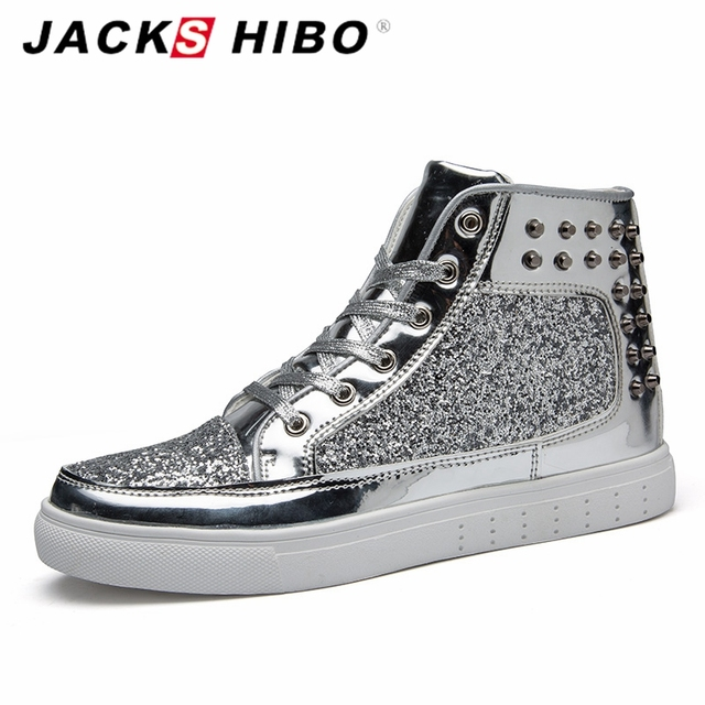 JACKSHIBO Autumn Winter Silver Shiny Mens Boots Fashion Middle Top Man Boots Ankle Length Hip Hop Shoes Chaussures Homme